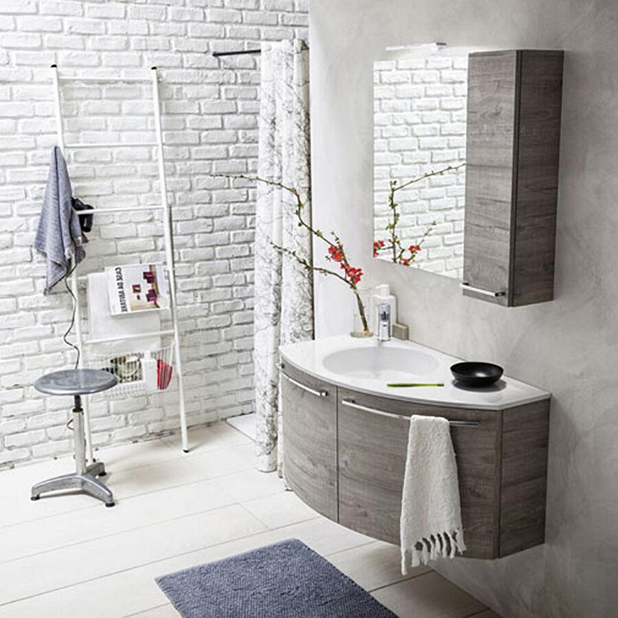 ARBI ARREDOBAGNO Mobile da bagno sospeso curvo destro da cm 90x50/22 con specchio a filo pensile e faretto