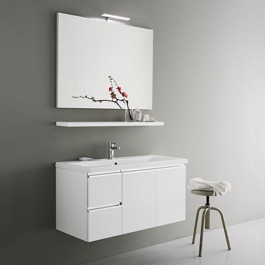 ARBI ARREDOBAGNO Mobile da bagno sospeso moderno da cm 100x45 con specchio a filo e faretto led