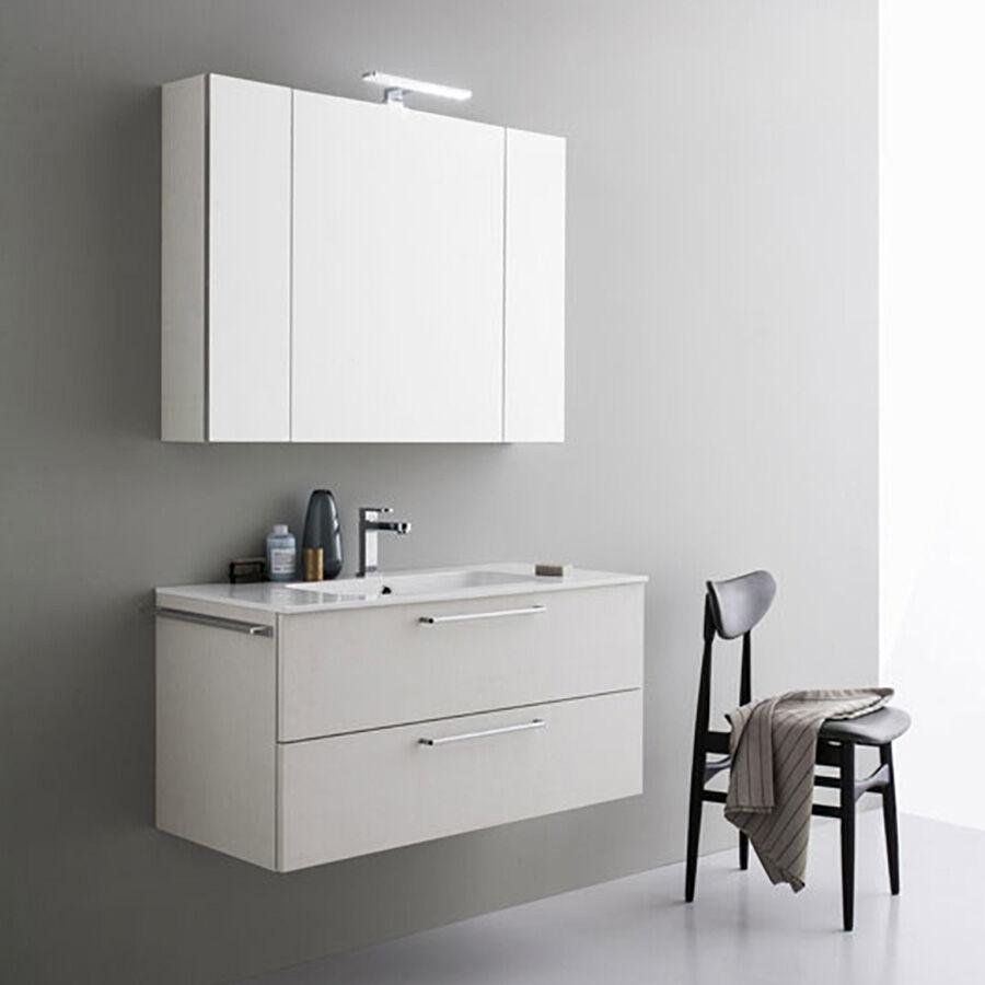 ARBI ARREDOBAGNO Mobile da bagno sospeso moderno da cm 100x45 con specchio contenitore e faretto led