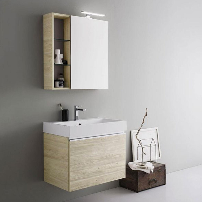 ARBI ARREDOBAGNO Mobile da bagno sospeso con cassettone da cm 70x45 con specchio contenitore e faretto led