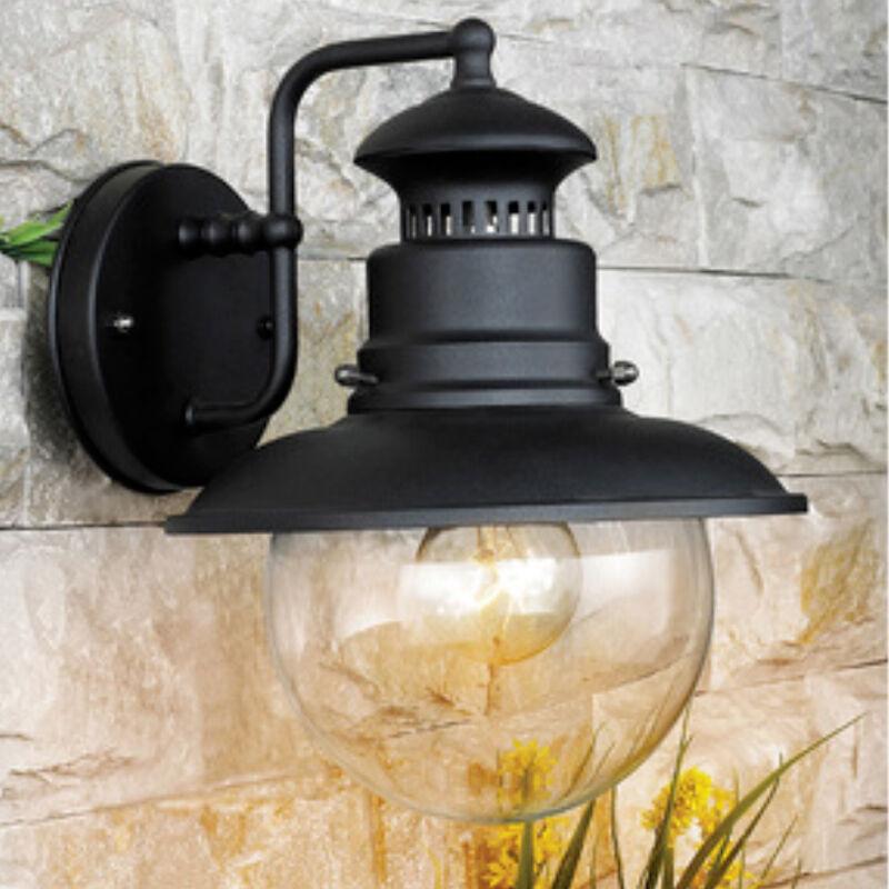 CeramicStore Lanterna Marina cm 22x26x27h corpo in acciaio nero e globo in vetro