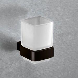 GEDY s.p.a. Portaspazzolini Gedy Lounge alluminio nero e contenitore in vetro 7x9,5x9,9 cm