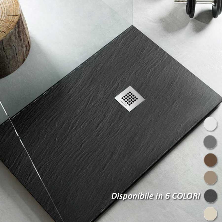 relax design Piatto Doccia filo pavimento 90x140 H 2,5 cm Easy effetto ardesia