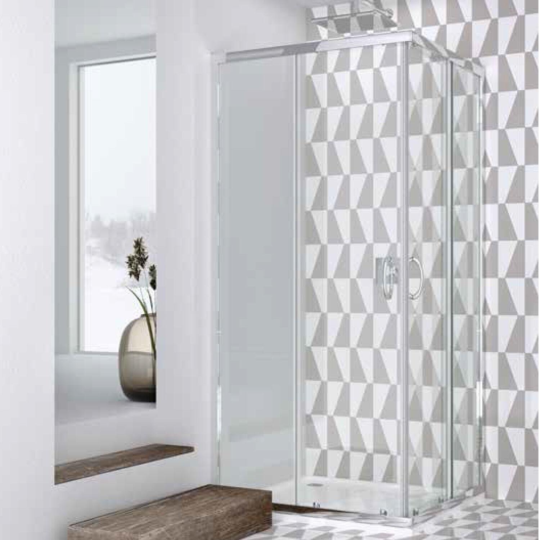 WEISS STERN Box doccia quadrato 90x90 in cristallo da 6 mm trasparente apertura angolare