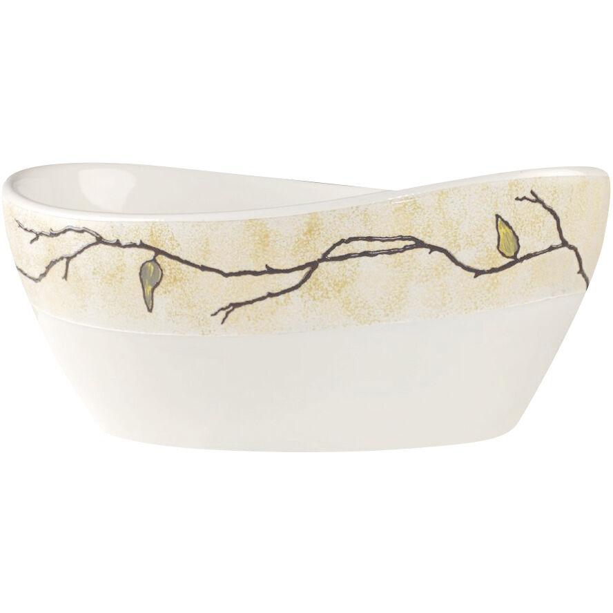 CeramicStore Lavabo da appoggio artistico con rami e foglie in rilievo 41,5x34x17 cm