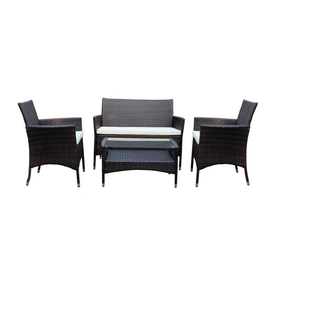CeramicStore Salotto da giardino in polyrattan modello Minorca Marrone con cuscini ecrù e tavolino