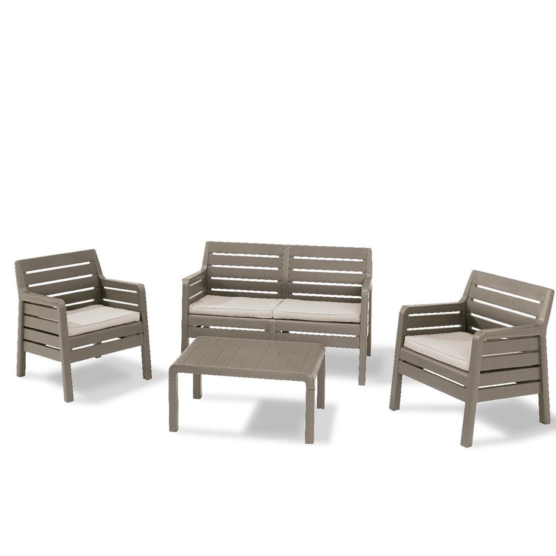 CeramicStore Salotto da esterno in resina antiurto modello Delano colore cappuccino con cuscini e tavolino