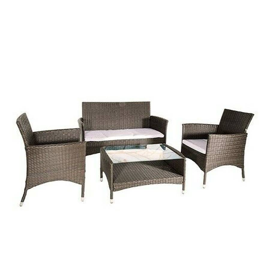 DFL Salotto da giardino composto da tavolino rettangolare, 1 divano due posti e 2 sedie in polyrattan modello Menelao. Colore Tortora