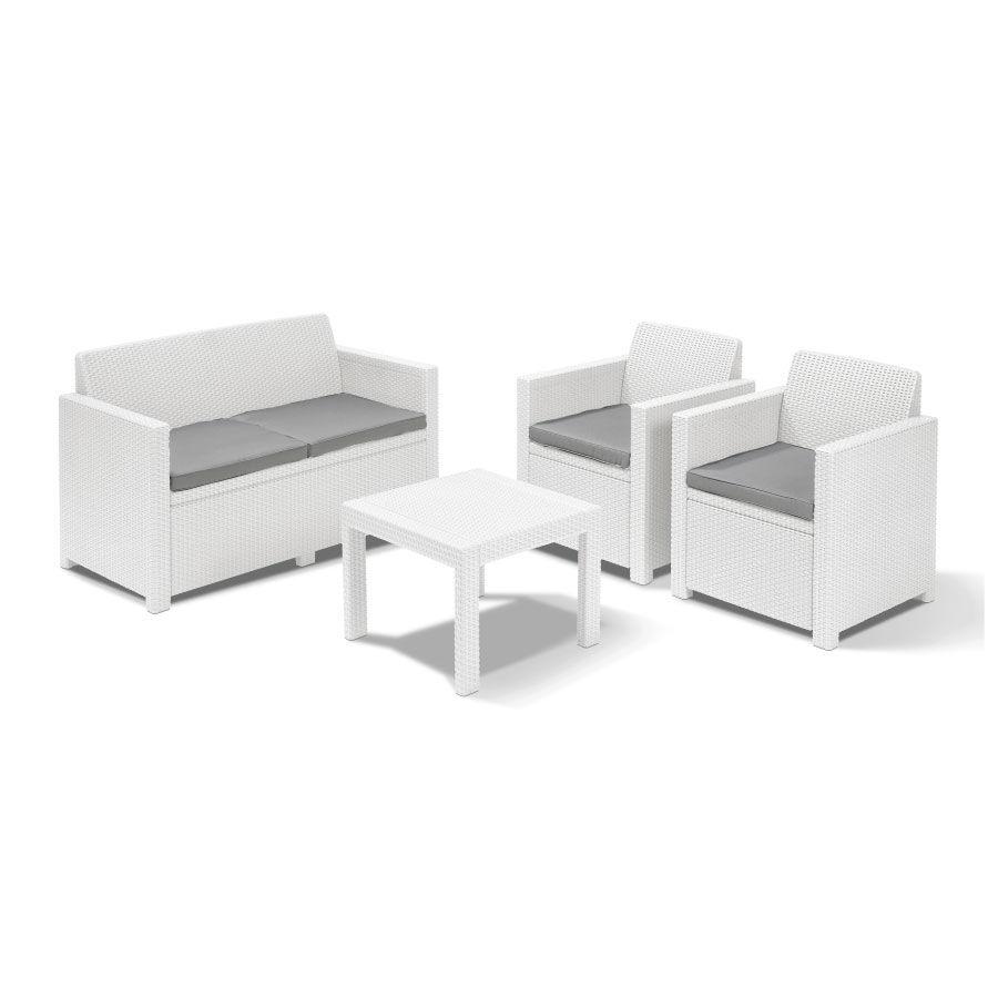CeramicStore Salotto da esterni Mod. ALABAMA in resina antiurto effetto polyrattan. Divano + 2 poltrone + Tavolino Colore bianco