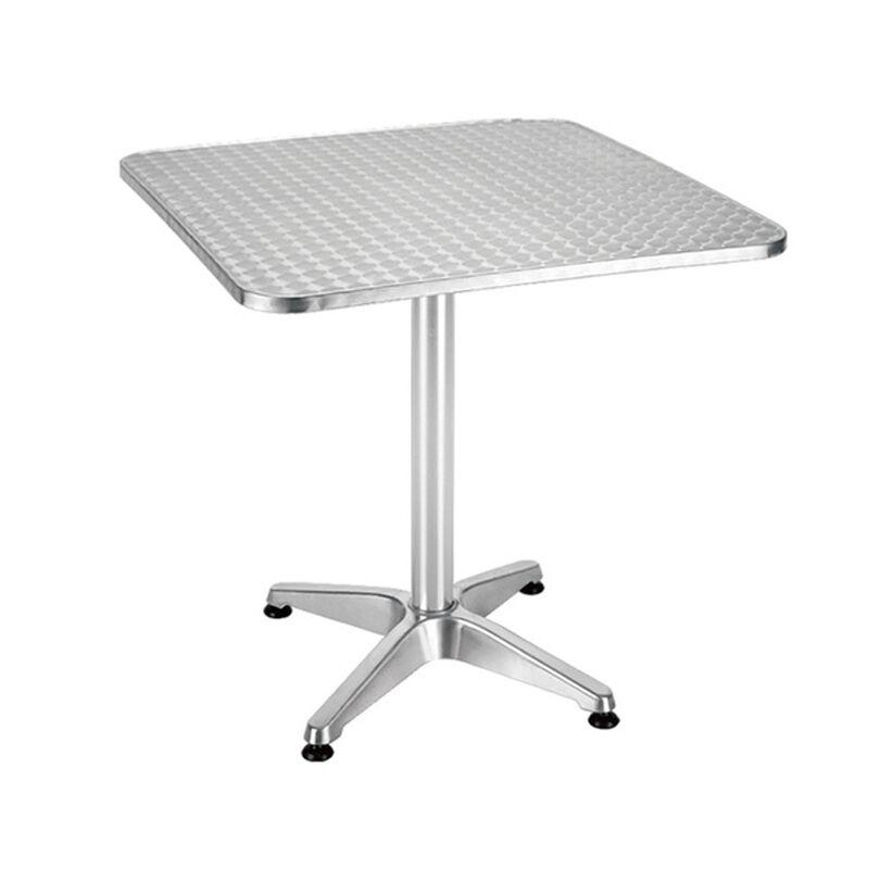 CeramicStore Tavolino rettangolare 70x70x70h con piano acciaio inox e base a quattro razze