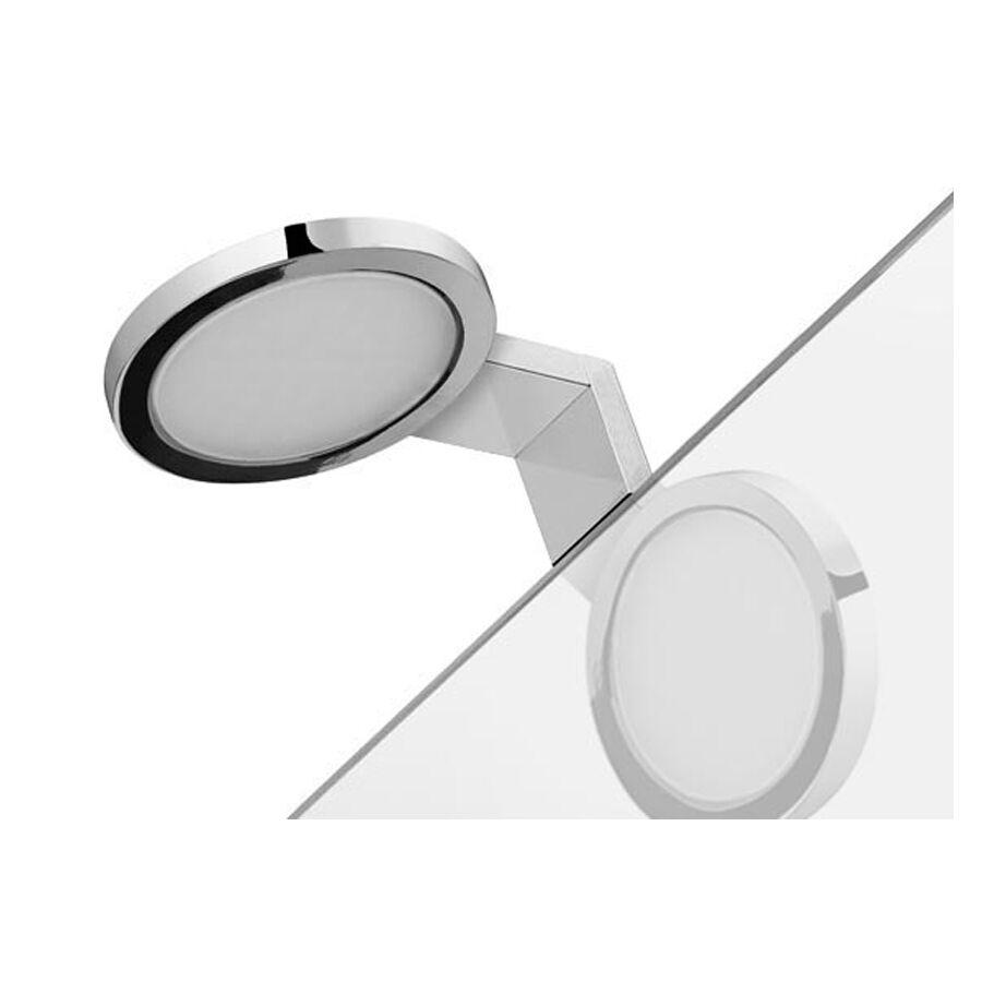 GEDY s.p.a. Lampada a led tonda cromata MAIORCA con telaio di fissaggio per specchi senza cornire