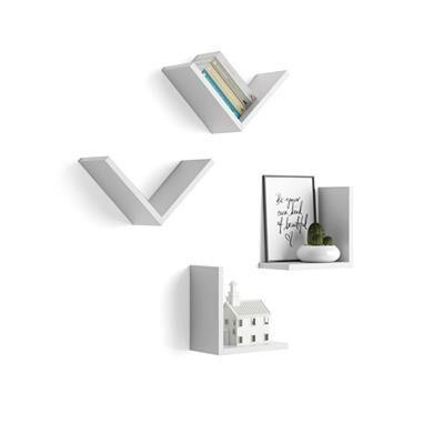 "Mobili Fiver Set di 4 Mensole a ""V"", Giuditta, Bianco Opaco"