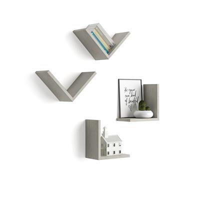 """Mobili Fiver Set di 4 Mensole a """"V"""", Giuditta, Cemento"""