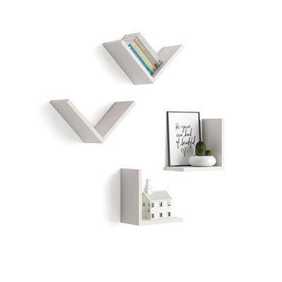 "Mobili Fiver Set di 4 Mensole a ""V"", Giuditta, Bianco Frassino"