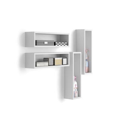 Mobili Fiver Set di 4 Cubi da parete, Iacopo, Bianco Opaco