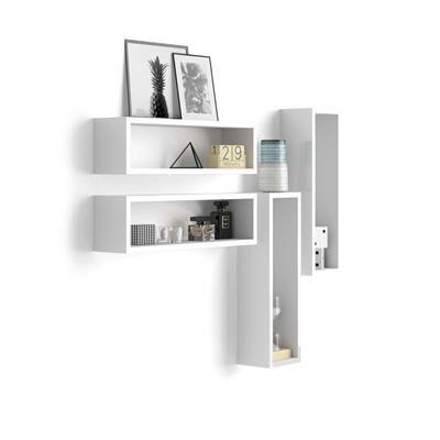 Mobili Fiver Set di 4 Cubi da parete, Iacopo, Bianco Lucido