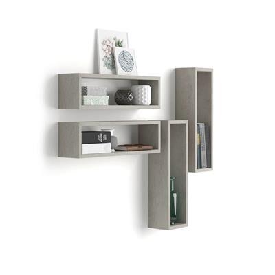 Mobili Fiver Set di 4 Cubi da parete Iacopo, Grigio Cemento