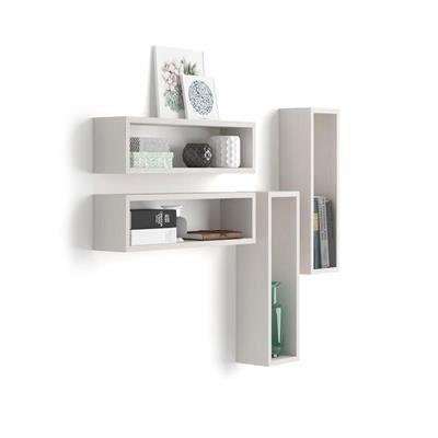 Mobili Fiver Set di 4 Cubi da parete Iacopo, Bianco Frassino