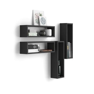 Mobili Fiver Set di 4 Cubi da parete Iacopo, Nero Frassino