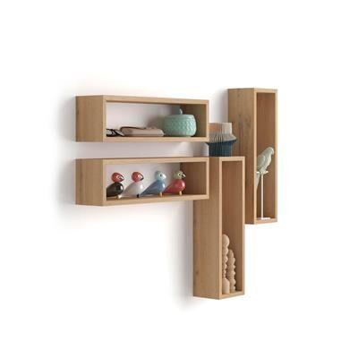Mobili Fiver Set di 4 Cubi da parete, Iacopo, Rovere Rustico