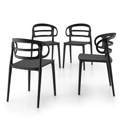 Mobili Fiver Set 4 Sedie moderne da cucina Carlotta, Nero