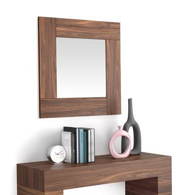 Mobili Fiver Specchiera quadrata, cornice Noce Canaletto, Evolution