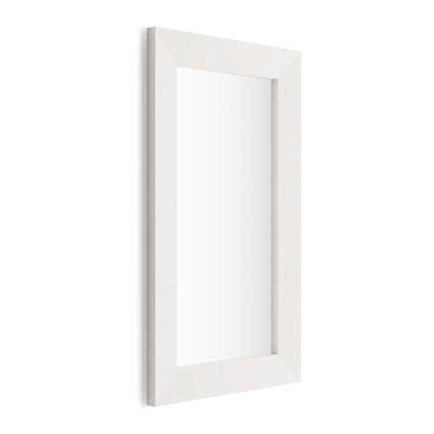 Mobili Fiver Specchiera rettangolare, cornice Bianco Frassino, Giuditta 110x65
