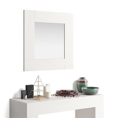 Mobili Fiver Specchiera quadrata, cornice Bianco Frassino, Evolution