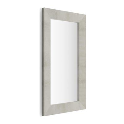 Mobili Fiver Specchiera rettangolare, cornice Cemento, Giuditta 110x65
