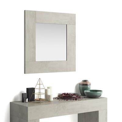Mobili Fiver Specchiera quadrata, cornice Grigio Cemento, Evolution