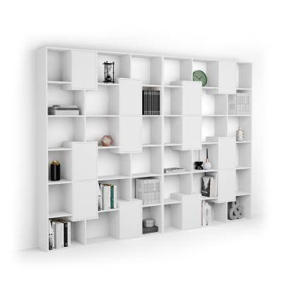 Mobili Fiver Libreria a parete XL Iacopo con ante (321,6 x 236,4 cm), Bianco Frassino