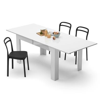 Mobili Fiver Tavolo allungabile Cucina, Easy, Bianco Lucido