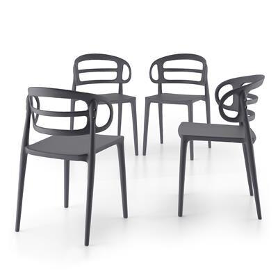 Mobili Fiver Set 4 Sedie moderne da cucina Carlotta, Grigio