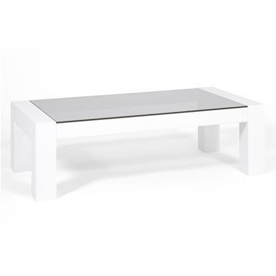 Mobili Fiver Tavolino da salotto, piano in vetro temperato, Iacopo, Bianco lucido