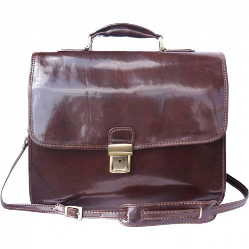 florence leather market cartella porta notebook in pelle di vitello tamponata a mano con tre scomparti