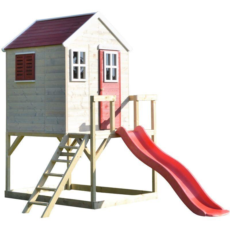 wendi toys casetta da giardino bambini piattaforma 90 cm con scivolo estate lodge