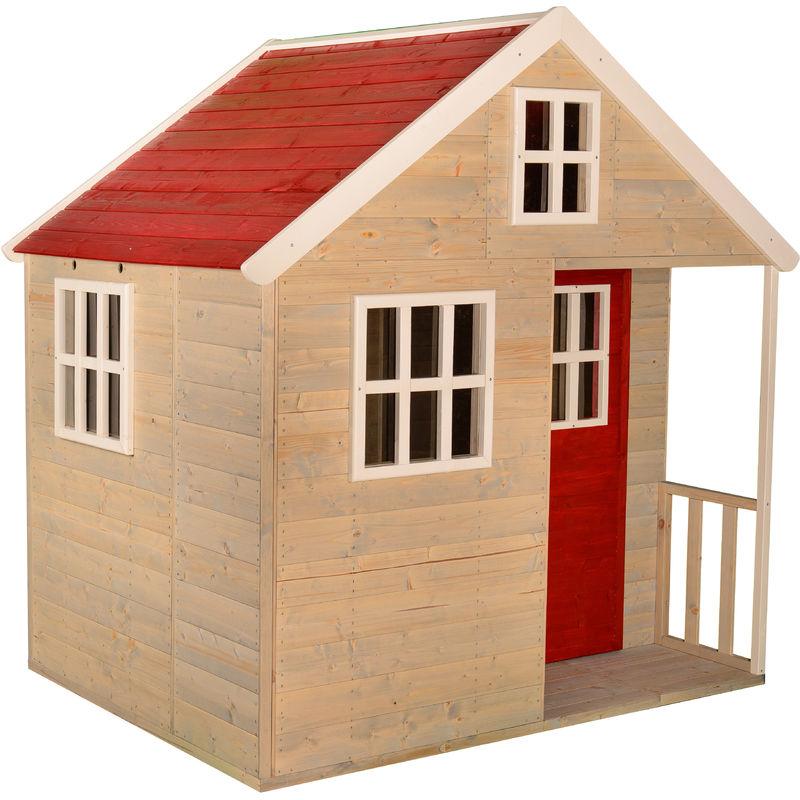 wendi toys casetta da giardino bambini villa nordica -rosso - wendi toys