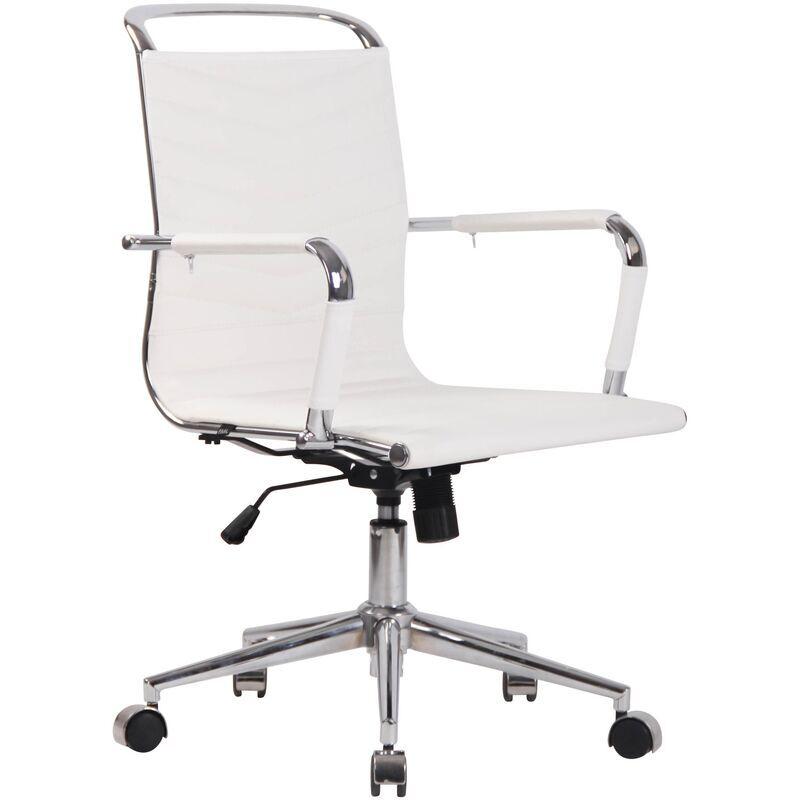 clp sedia ufficio ergonomica burnley bianco vera pelle - clp