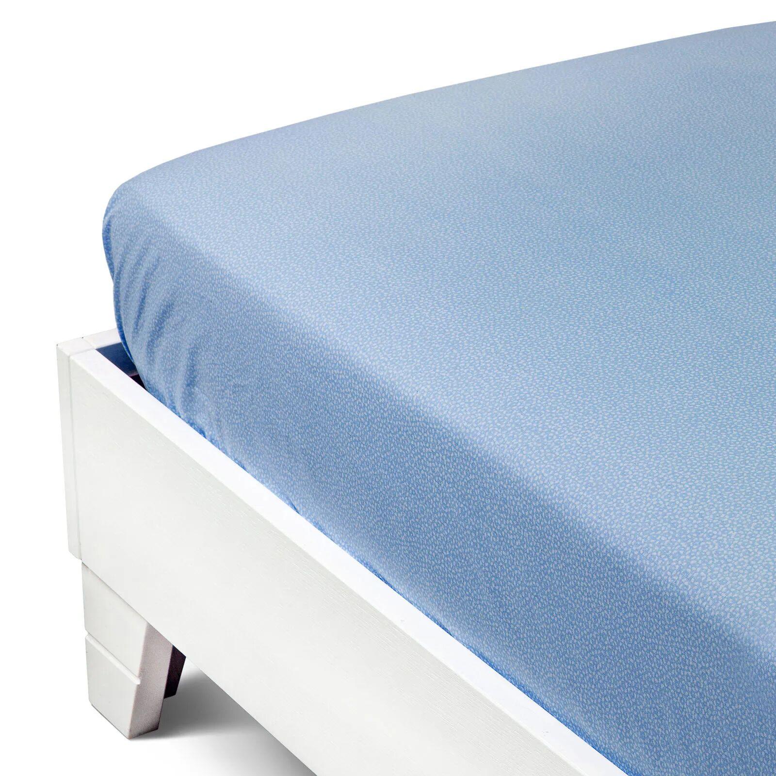 caleffi lenzuolo sotto con angoli  joy singolo blu in cotone