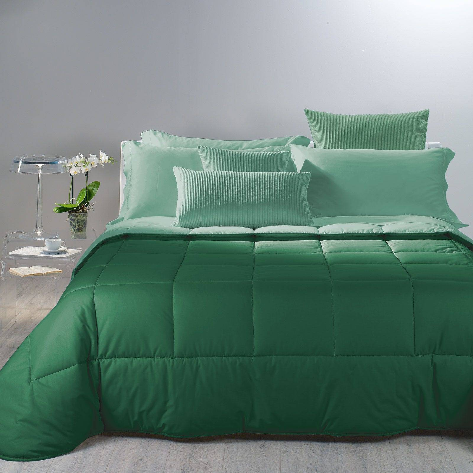 Caleffi Trapunta Bicolor Matrimoniale Verde in Cotone