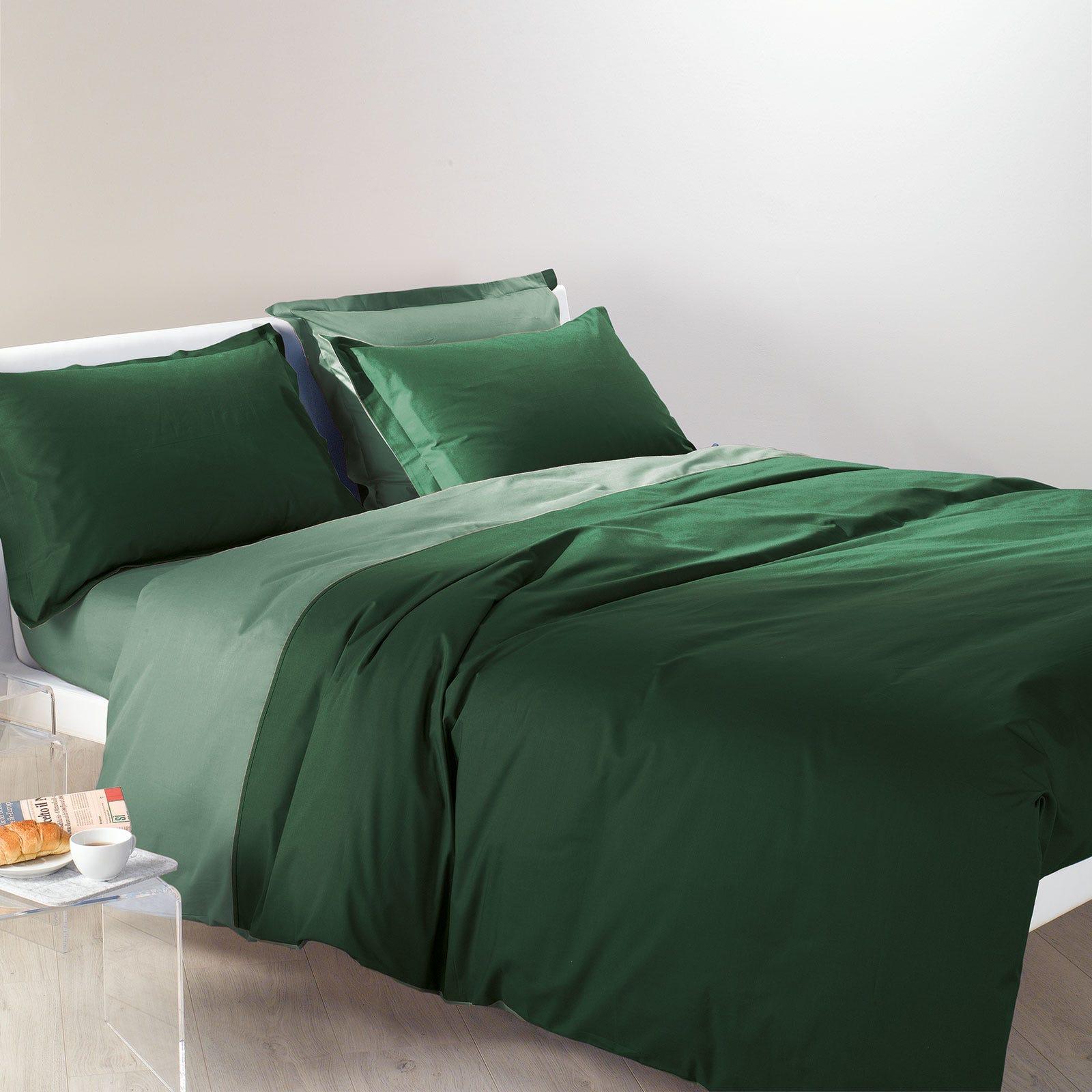Caleffi Copripiumino Matrimoniale Bicolor Verde in Cotone