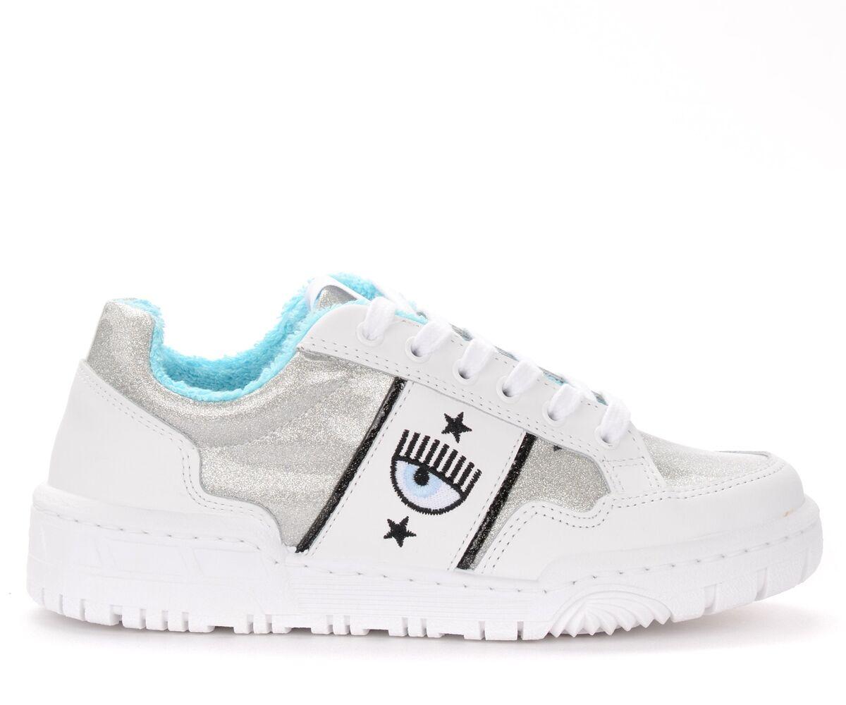 Chiara Ferragni Collection Sneaker Chiara Ferragni in pelle bianca e glitter argento