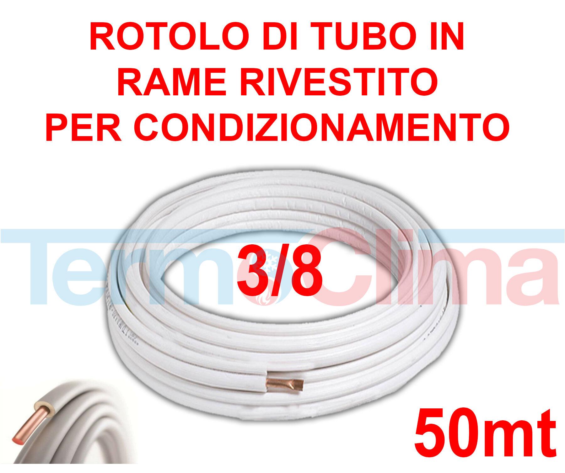 Rotolo Di Tubo In Rame 50 Metri Per Condizionatore Climatizzatore Rivestito Per Condizionamento Rotolo Da 50 Mt 38 Spessore 08mm