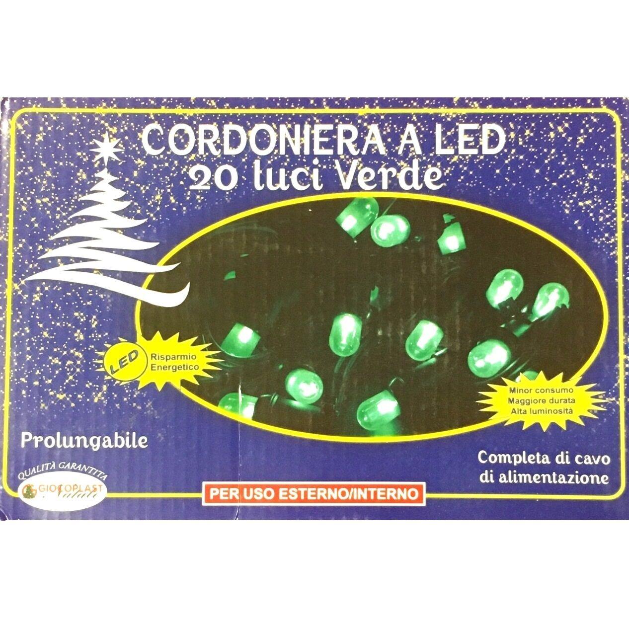 Luci Da Esterno Catena luminosa 3,10 m, 20 Mega LED di colore Verde sostituibili, prolungabile