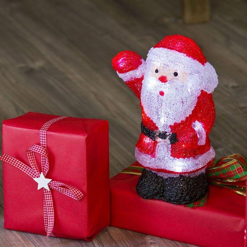 Luci Da Esterno Babbo Natale 3D a batteria alto 27 cm, 20 LED Bianchi