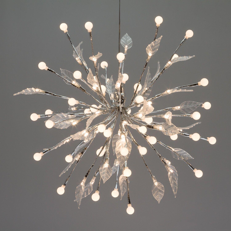 Luci Da Esterno Ramo Argento Fireball decorato con sfere e foglie, led bianco caldo
