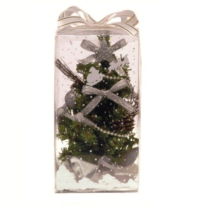 Luci Da Esterno Albero con addobbi h 20 cm colore argento