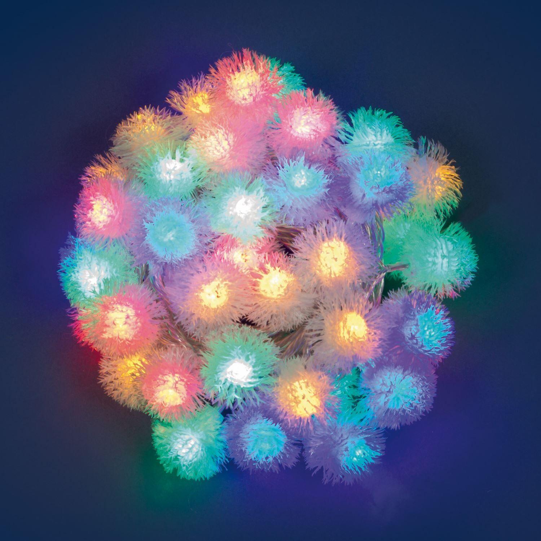 luci da esterno catena luminosa 8 m decorata con 40 sfere soffici snowball led multicolor, non prolungabile