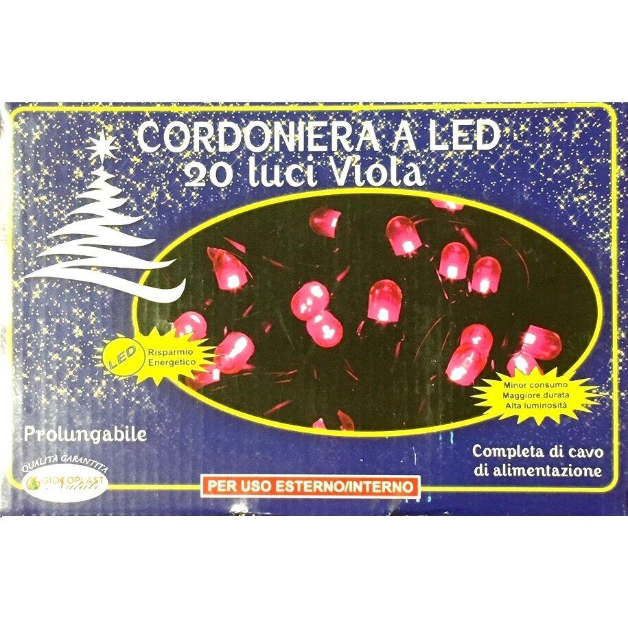 Luci Da Esterno Catena luminosa 3,10 m, 20 Mega LED di colore Porpora sostituibili, prolungabile