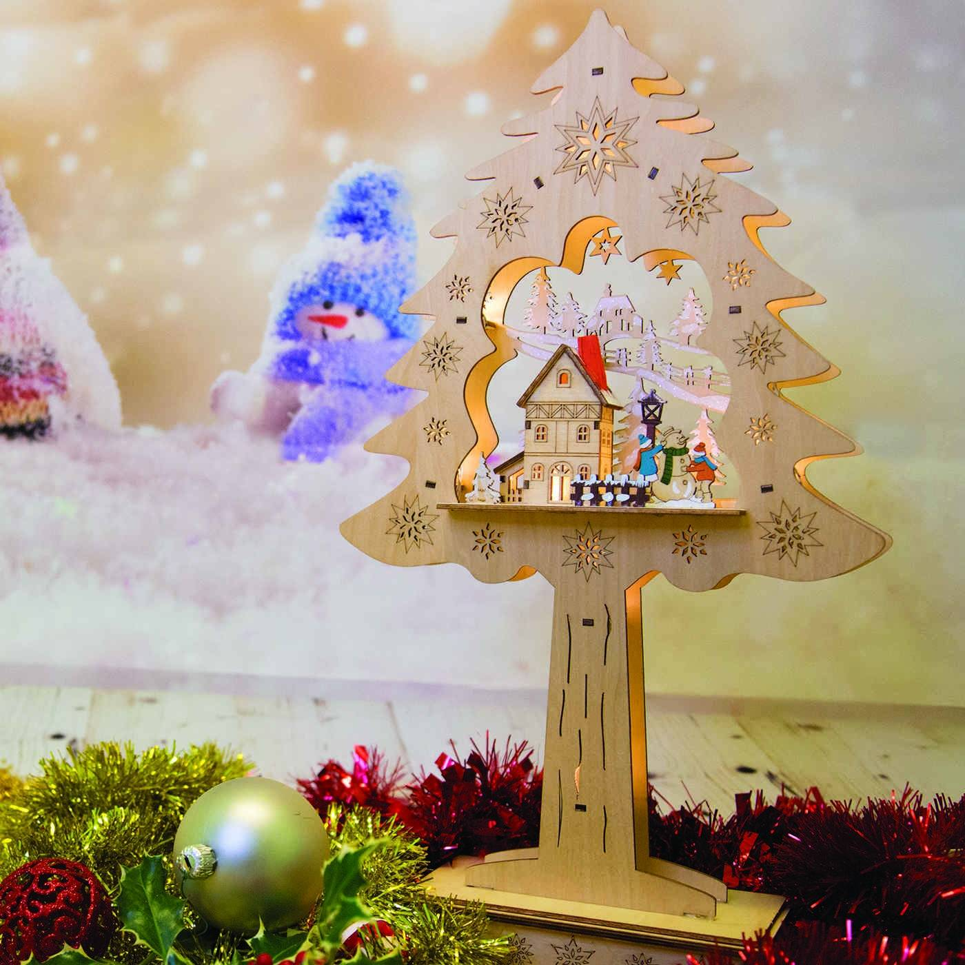 Luci Da Esterno Albero tridimensionale con casetta con luci a LED, legno bianco, 48 x 27 x 9 cm